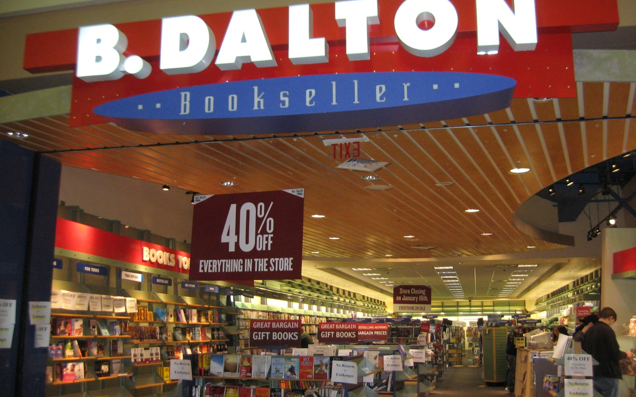 A.B. Dalton went bankrupt in 2010 and folded completely by 2013